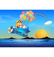 A plane with monkeys and balloons vector image