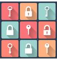 Key and padlock flat icons set vector image vector image
