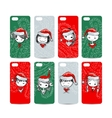Mobile phone cover back Santa girls for your vector image