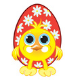 chicken with easter eggs vector image