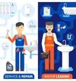 Plumbing Service 2 Flat Vertical Banners vector image