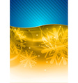 christmas background in the blue and gold vector image