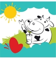 Cow With Red Heart Butterfly vector image