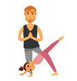 father and daughter does yoga exercises isolated vector image