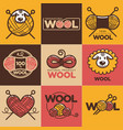 wool labels or logo for pure 100 percent natural vector image