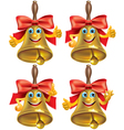 Funny school bell showing different emotions vector image