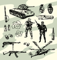 Military doodles vector image