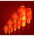 A set of orange-red Chinese lanterns with cherry vector image