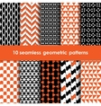 Geometric black orange and white seamless patterns vector image