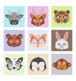 set of cartoon animals party masks holiday vector image
