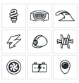 Set of Hydroelectric Station Icons Lamp vector image