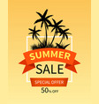 summer sale banner with palm trees vector image