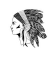 the profile of a girl in traditional headdress of vector image