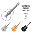 yellow guitar hippy single icon in cartoon style vector image