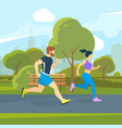 runners in the city park urban lifestyle vector image