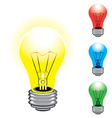 set of colorful light bulbs on white background vector image