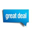 great deal blue 3d realistic paper speech bubble vector image