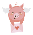Cute pig with letter vector image