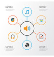 music flat icons set collection of tone male dj vector image