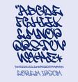 graffiti alphabet- hand written font vector image