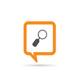square orange speech bubble with magnifying glass vector image