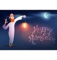 Arabic man keeps illuminated colorful ramadan vector image
