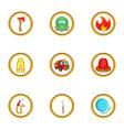 Fireman icon set cartoon style vector image