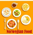 Fish dishes of norwegian cuisine flat icon vector image