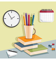 flat design with pencils in the glass and books vector image
