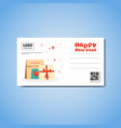 happy new year template greeting card with place vector image