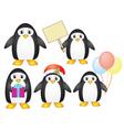 set of cartoon penguins vector image