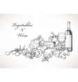 Wine cheese and vegetables vector image