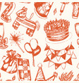 happy birthday - hand drawn seamless pattern vector image
