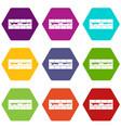 brick wall icon set color hexahedron vector image