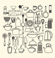 foods and kitchen outline icons set vector image