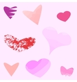 Funny hearts in different shapes and colors vector image