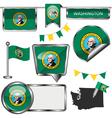 Glossy icons with Washingtonian flag vector image