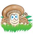 mushroom cartoon on forest background vector image