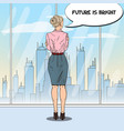 pop art business woman looking at city vector image