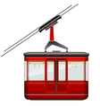 Red big and old cabin cableway on a white vector image