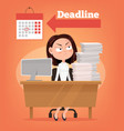 sad unhappy angry office worker woman thinking vector image