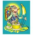 The monkey draws dreams which will come true vector image