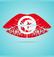 tunisia flag lipstick on the lips isolated on a vector image