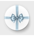 White Round Gift Box with Light Blue Bow Isolated vector image