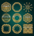 Gold mandala set Turquoise version vector image