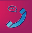 phone with speech bubble sign  blue 3d vector image