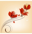 Romantic red flowers decoration in retro style vector image vector image