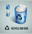blue transparent realistic recycle bin icons vector image