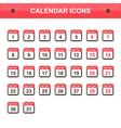 Flat design calendar icon set collection vector image