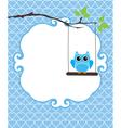 invitation card owl blue vector image